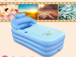 Wholesale Pool Can - Free Shipping-160*84*64CM Spa PVC Folding Portable Bathtub Inflatable Bath Tub With Zipper Cover Drink Holder Fashion 2 colors can be chosen