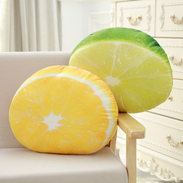 Wholesale Girlfriend Cushion - Wholesale- New Coming 1PC 50Cm Cute Fruit Pillow Office Sleeping Stuff Toy Lemon Type Chair Sofa Nap Cushion Kids Girlfriend Birthday Gift