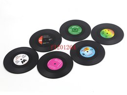 Wholesale Mix Record - 120pcs lot Free Shipping Round CD Records Shape Non-slip Cup Coasters Holder Mat Silicone Placemat Cup Mat Mix Color