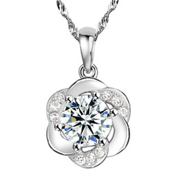 Wholesale Crystal Jewelry Flowers - Free shipping romantic simple crystal clear cute round flower pendant necklace 925 sterling silver jewelry