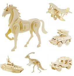 Wholesale Puzzle Horse - DIY 3D Models Puzzle Educational Toys Wooden Building Blocks Wood Toy Jigsaw Craft Lion Tank Plane Goat Car Snake Horse Shark Spider