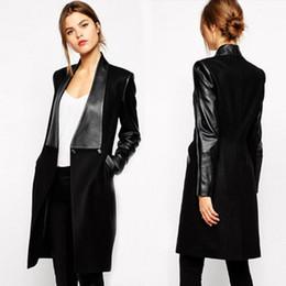 Wholesale Leather Outwear - Woolen patchwork PU Leather coats Lapel Faux Spliced Two Buttons Long Coat Jacket Thin Outwear Autumn Black S- XL WS66