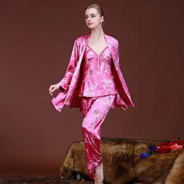 Wholesale Xxl Sexy Women Pajamas - Wholesale- M L XL XXL Women's Luxury Imitated Silk Sexy Pajamas Sets Nighgowns 3Pcs Sleepwear Spring Night Gown Nightwear Robes for Women 0