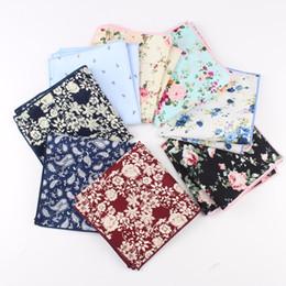 quadrados de bolso de algodão por atacado Desconto Venda por atacado - Lenços de algodão Paisley tecido Floral impressão flor bolso quadrado Mens Casual Square bolsos Toalhas lenço