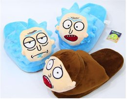 Wholesale Mr Color - Rick and Morty Mr. Meeseeks   Rick Sanchez   Morty Smith Plush Slippers Shoes for Men Women Soft Stuffed Toy Doll