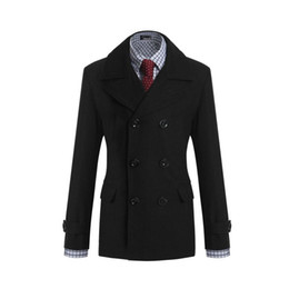 Wholesale Turn Down Collar Pea Coat - Fall-Popular Men's Winter Coat Turn-down Collar Wool Blends Warm Men's Pea Coat Double Breasted Solid Men's Winter Coats