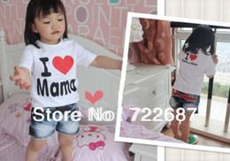 Wholesale I Love Mama Tee - Wholesale-In stock Wholesale baby Short-Sleeve Shirt baby Tee shirt boy & girl T-shirt I love papa mama T shirt short shirt 20pcs lot