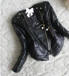Wholesale Wholesale Leather Jackets Clothing - childrens PU Jacket coatsLong Sleeve Kids Girls PU Leather Jacket Beads Zipper Lace Chiffon Kids Apparels Children Clothing