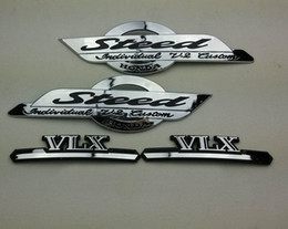 Wholesale Emblem Honda - Chrome Motorcycle Stickers VLX Steed Logo Gas Tank Emblem Badge Decal for Honda Shadow STEED VLX 400 600 3D Decorative Sticker