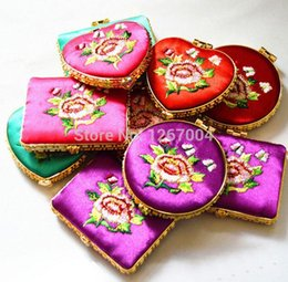 Wholesale Mirror Compact Silk - 20pcs Small Compact Mirrors Silk Embroidery Double Sided Mix color styles 051919