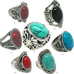 Wholesale vintage style rings - Vintage Turquoise Antique Silver Rings Adjustable SizeVintage Single Turqus Mixed Styles Vintage Gemstone Rings Turquoise Rings TR028