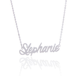 "Wholesale Personalized Nameplate Necklace - No custom ,14K Gold Plating Stainless Steel Personalized Name necklace "" Stephanie "" Charm Nameplate Necklace Jewelry gift NL-2430"