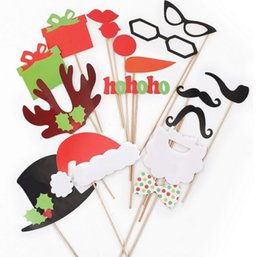 Wholesale Photobooth Props Christmas - 100SETS 17PCS SET Photo Booth Props Photobooth For Wedding Birthday Party Halloween Holiday Props Glasses Mustache Lip On A Stick