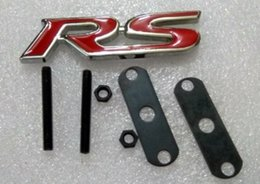 Wholesale Jaguar Part - 1 pc Metal Chrome Red 3D RS Grille Grill Logo Emblem Badge Styling Styling Car Parts Accessory Turning decoration Sign Mark