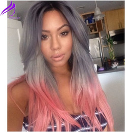 Wholesale Wig Blue Grey - Hotselling long natural wave synthetic lace front heat resistant ombre pink to grey glueless natural hairline wig for womens