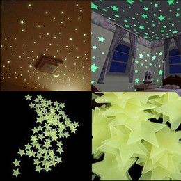 Wholesale Removable Wall Decor - New 100pcs lot Glow Wall Stickers Decal Baby Kids Bedroom Home Decor Color Stars Luminous Fluorescent 4colors diameter 3cm