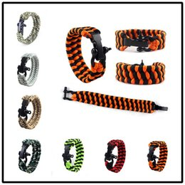 Wholesale Dropshipping Bracelet - Dropshipping Self-rescue Cord Rope Paracord Buckle Bracelets Military Bangles Sport Travel Camping Hiking Adjustable Survival Gadgets