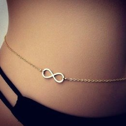 Wholesale Wholesale Beaded Belly Chain - 12pcs lot Wholesale Free Shipping 8 Number cross Love fashion sexy bikini body chain belly chain necklace