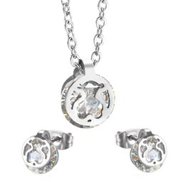 Wholesale Zircon Necklace Sets - New design Stainless Silver crystal zircon pendant Cute Charms women jewelry earring necklace set Joyas de acero inoxidable oso