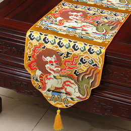 Wholesale Vintage Dining Tables - Vintage Kirin Lucky Table Runner Dining Table Pads Chinese Ethnic style Luxury Silk Brocade Tea Table Cloth Wedding Dinner Party Decoration