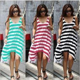 b83a23080d Fashion Summer Dresses Womens Stripe Short Skirt Sexy Sleeveless Bohemian  Beach Dress Vestidos Casual Dress Bikini Overall Clothes B25