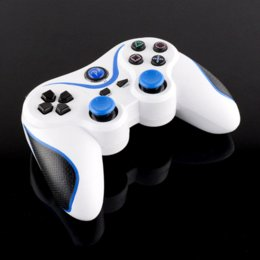 Wholesale Bluetooth Laptop Remote - Hot Wireless Bluetooth Remote Doubleshock Game Controller White Blue For PS3 Playstation 3 PC laptop Phone android