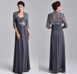 Wholesale Elegant Grey Dresses - 2017 Plus Size Elegant Grey Chiffon Mother Of The Bride Dress With 3 4 Long Sleeve Lace Jacket wedding party dresses