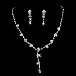 Wholesale Silver Pearl Bridal Sets - Hot Cheap $1.99 Silver Plated Pearl & Rhinestone Bridal Necklace & Earrings Set Prom Evening Bridal Accessories 15024 In Stock 2015