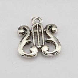 Wholesale Antiques Musical Instruments - Hot ! 200 pcs Antique Silver Alloy Musical Instrument Charm Pendant 16x17mm DIY Jewelry