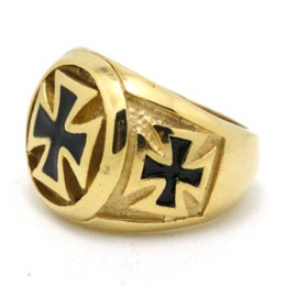 Wholesale Mens Gold Biker Rings - Min Order is $10(Mix Order) Very Cool 18K Gold Cross Biker Ring Mens 316L Stainless Steel Cool Biker Ring Guarantee 100%