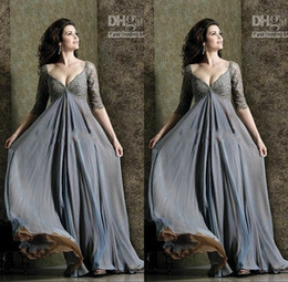 Wholesale Dress Bride Pregnant - Grey Lace Chiffon Evening Dresses Deep V Neck Half Sleeves Open Backs Plus Size Pregnant Women Maternity Evening Gowns Formal Brides Dresses
