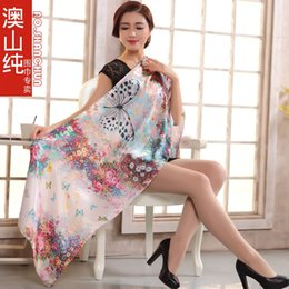 Wholesale Butterfly Pattern Scarves - 2014 Summer Winter Pure Silk Women Long Scarf Wraps Printed Fashion Beige White Butterfly Pattern Mulberry Silk Scarf Shawl