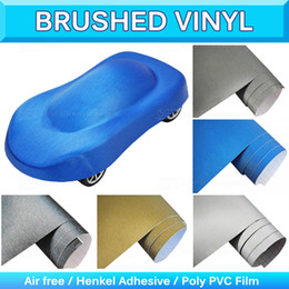 Wholesale Vehicle Material - Metallic Car Wrap Brushed Vinyl Wrapping Textured Decal Film Sheet Structured Foil Flex Vehicle Sticker Air Free 1.52x30m 5x95Ft