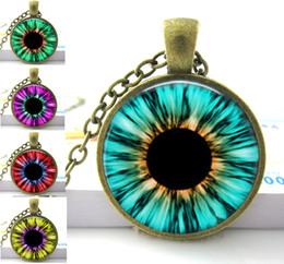 Wholesale Glass Eyeballs - Blue Green Pink Red Cat Eye Necklace Many Custom Options Realistic Animal Dragon Eyeball Pendant Steampunk Gothic Necklace