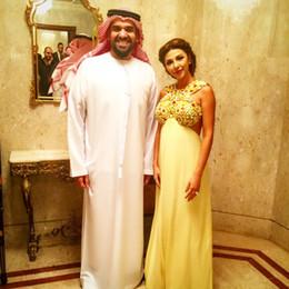 Wholesale Dubai Chiffon - 2016 Myriam Fares Evening Dresses A Line Chiffon Dubai Saudi Arabia evening gowns Floor Length Jewe Beaded Celebrity Dress Zipper Backless