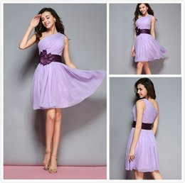 Wholesale Dropshipping Dresses - Custom Made and Dropshipping One Shoulder Knee-Length Chiffon Bridesmaid Dress Hand Made Flowers Party Dress
