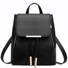 Wholesale Leather Big Travel Bag - 2017 New Women Backpacks Leather Travel Black Blue Color Big Simple Ladies Bags Female Backpack Schoolbags Shoulder Bag Mochila