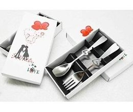 Wholesale Wedding Gift Cutlery - 500sets free shipping creative gifts small gifts wedding heart-shaped stainless steel cutlery set fork spoon