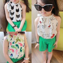 Wholesale Girl Tops Tshirts - Cartoon Tank Tops Children Condole Belt Kids Tshirts Fashion Girl Dress 2015 Summer Tank Tops Child Clothes Kids Clothing Girls Tops C7796