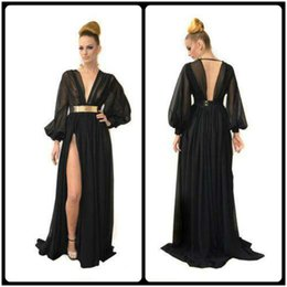 Wholesale Custom Made Prom Dresses Online - 2016 Modest Black Long Sleeve Prom Dresses Deep V Neck Chiffon Formal Women's Party Gowns Backless Evening Dress Online