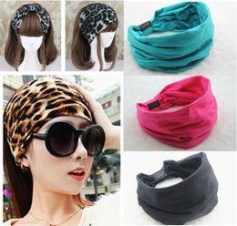 Wholesale Female Head - Cotton Elastic Wide Sport Headband Women New Variety Of Wear Method Gym Turban Stretch Yoga Head Band Hair Accessories For Women