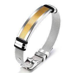 Wholesale Mesh Chain Bracelets - Simple Bracelet For Men Mesh Strap Band Perimeter 165-210mm Black  Gold Color Stainless Steel Male Wrap Bracelets GH877