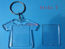 Acrylic keychains blanks online-1000 unids / lote Envío Gratis Más Nuevo DIY Acrílico En Blanco Foto Llaveros En Forma Clave Cadenas Insertar Foto Plástico Llaveros