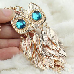 Wholesale Owl Necklace Charms - Wholesale-New Fashionable Stylish Gold Leaves Owl Charm Chain Long Women Pendant Necklace 1DWI