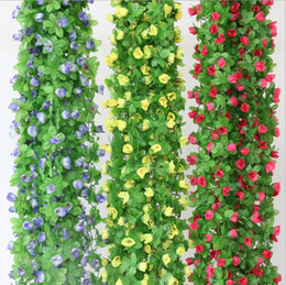Wholesale Vines Roses - 2.2m artificial rose flowers Wisteria Vine flower Rattan Silk Flower for air-condition channel Decoration Garland and Home Ornament HH04