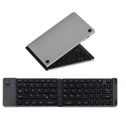 Wholesale Iphone Foldable Keyboard - F66 Bluetooth 3.0 Wireless Mini Keyboard Foldable Aluminum Alloy Portable keyboard For iPhone iPad Support iOS Windows Android System