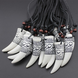 Wholesale Carved Wall - Wholesale 12pcs Great Wall Carved Elephant Tooth Design Lucky Pendant Necklace MN382