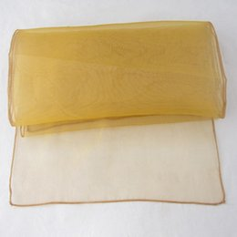 """Wholesale Gold Organza Table Runners - Fashion Gold Organza Table Runners 12""""x108"""" Wedding Banquet Decoration Party Table Runners Colors Favor Decor New Free Shipping GW197"""