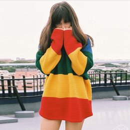 Wholesale Ladies Fall Sweaters - New Arrival Fashion 2015 Fall Winter Women Long Sleeve Casual Loose Rainbow Striped Knitted Sweater Ladies Autumn Pullovers Tops