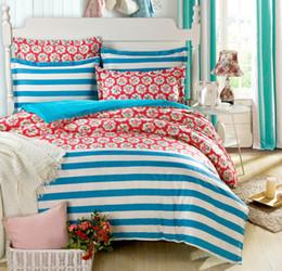 Wholesale Blue Floral Crib Bedding - Wholesale-floral unique cotton bedding set for single&double bed,blue and white Stripes printed duvet cover+bedsheet+Pillow sham